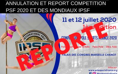 27/03/2020: COMMUNIQUE – Annulation et report compétition PSF 2020 et des mondiaux IPSF